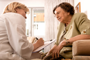 caregiver talking to senior